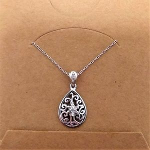 10k white gold with diamond accent necklace